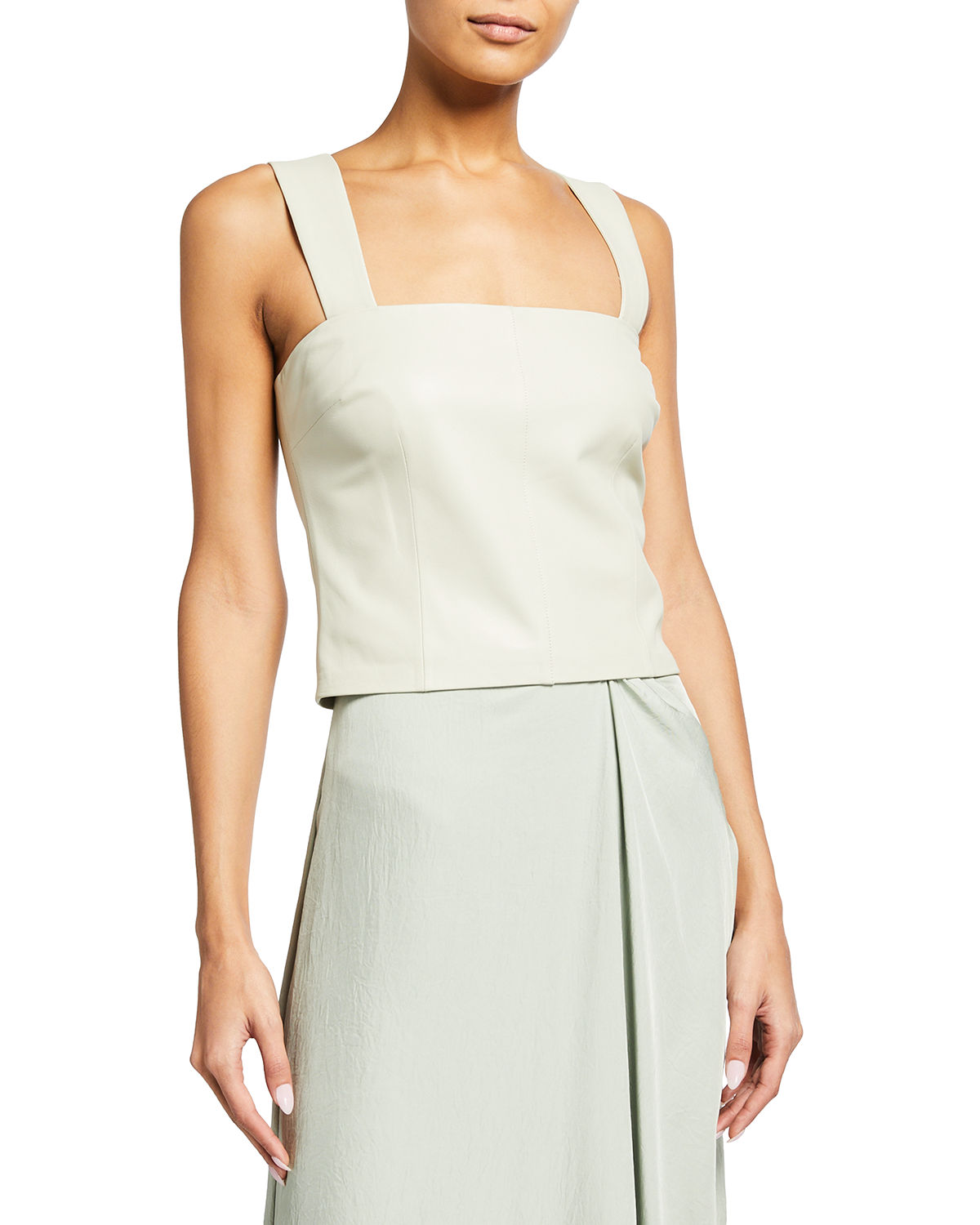 Vince Tops LEATHER SQUARE-NECK TANK