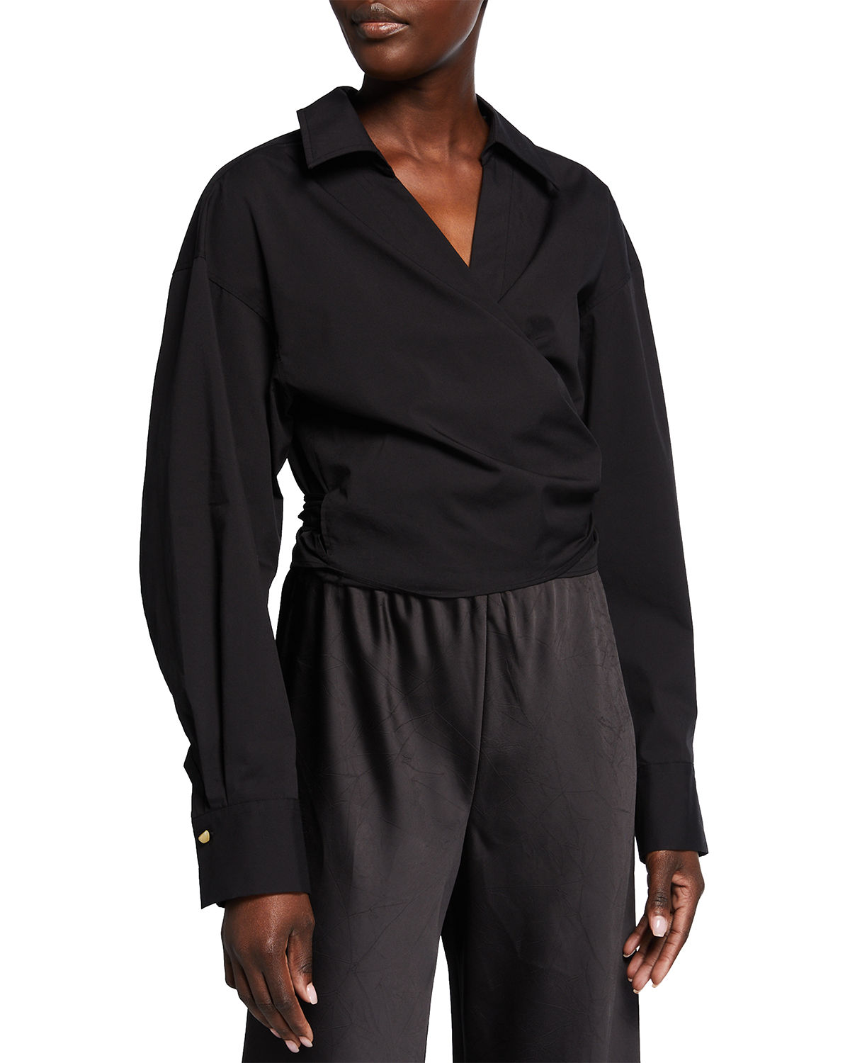 Vince Fitted Long-sleeve Wrap Shirt In Black