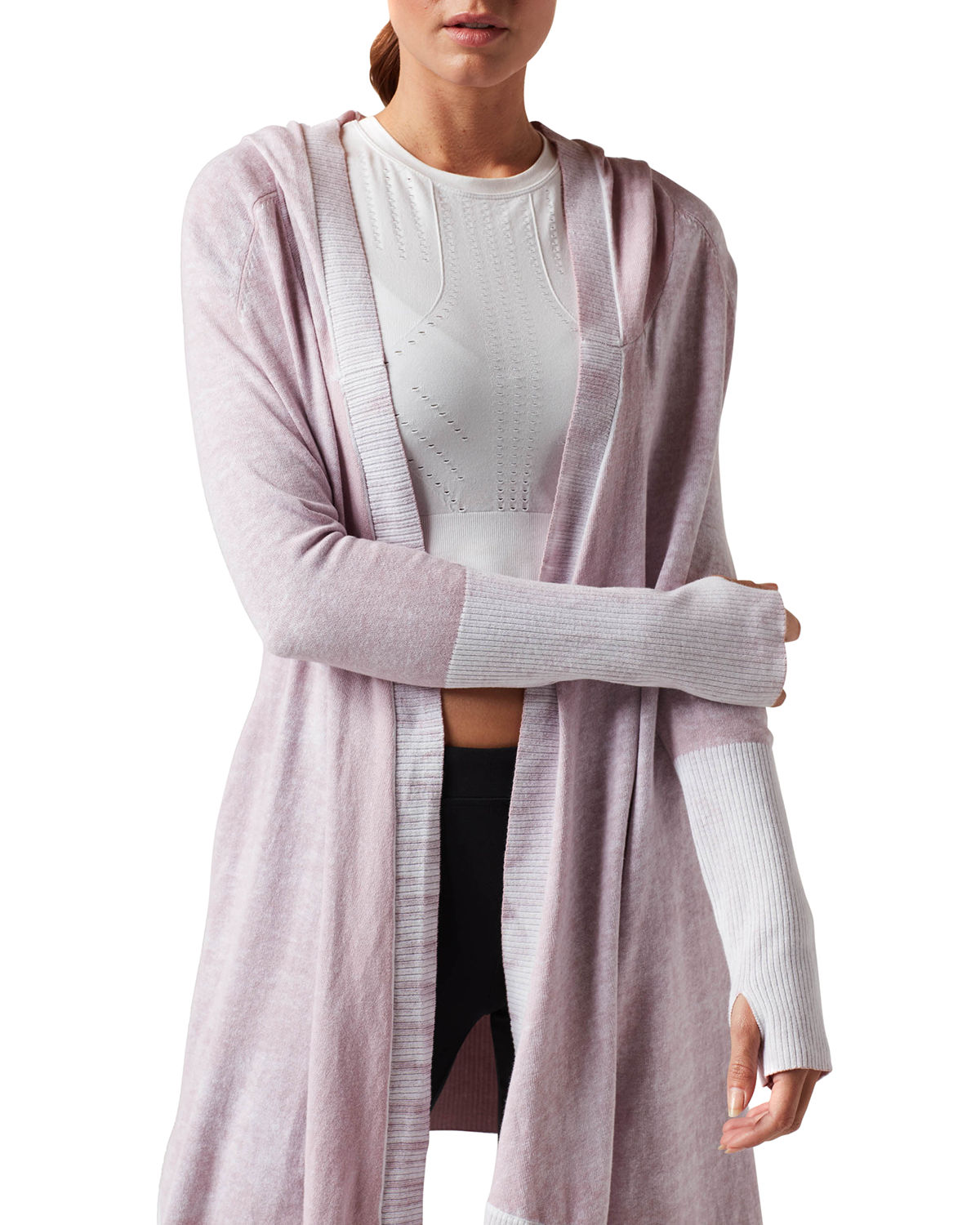 Blanc Noir Cottons HUNTRESS HOODED OPEN-FRONT CARDIGAN