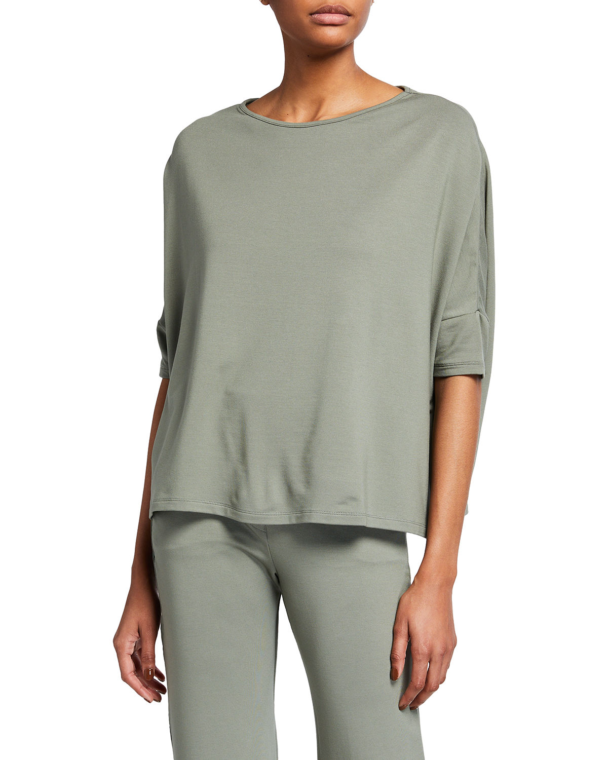 Majestic FRENCH TERRY 3/4-SLEEVE BOAT-NECK TOP