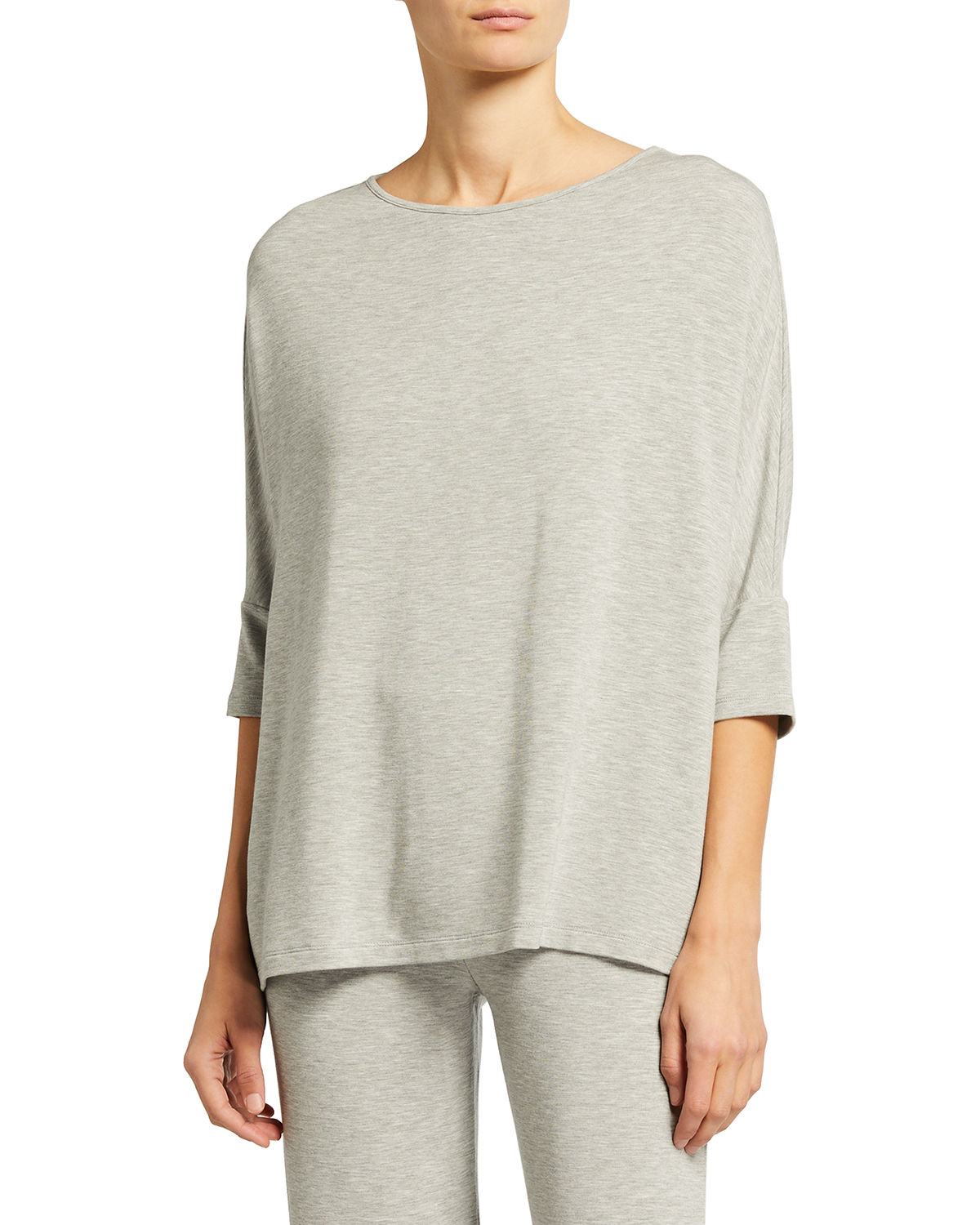 Majestic Tops FRENCH TERRY 3/4-SLEEVE BOAT-NECK TOP
