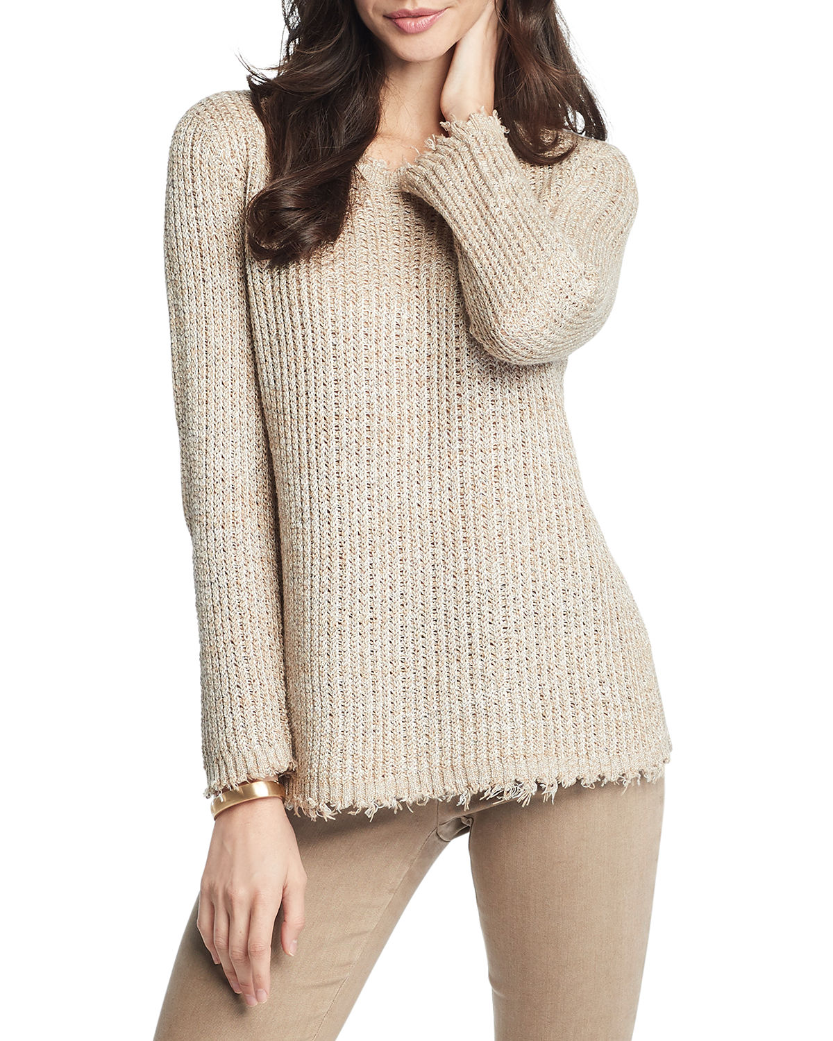 Nic + Zoe SUNRISE FRAYED-EDGE SWEATER