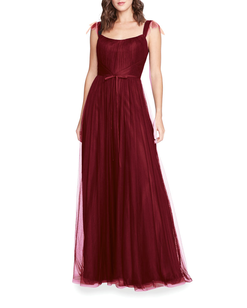 Marchesa Notte Bridesmaid Sleeveless Tulle A-Line Gown