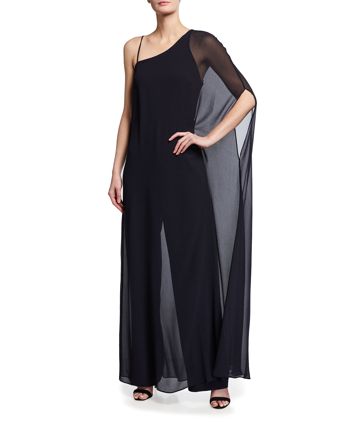 Halston ONE-SHOULDER JUMPSUIT W/ GEORGETTE OVERLAY