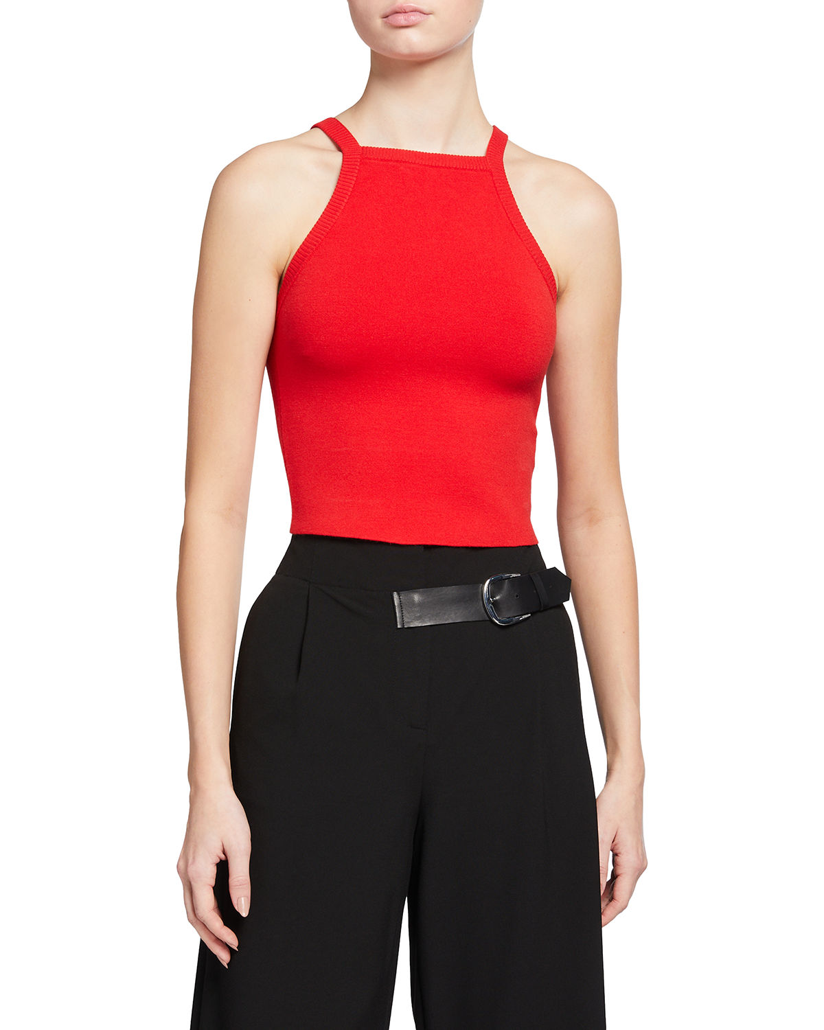 Alice And Olivia Knits CABOT HIGH-NECK FITTED CROP TANK