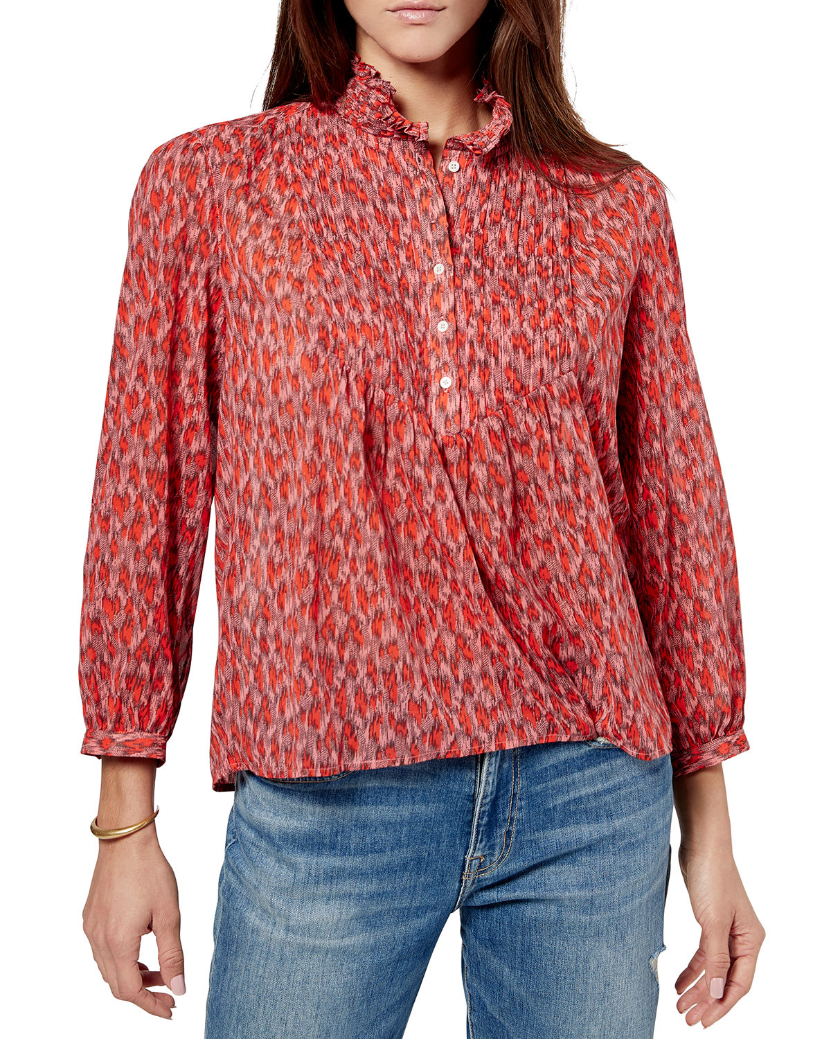 Joie Cottons STINSON PUFF-SLEEVE PRINTED TOP