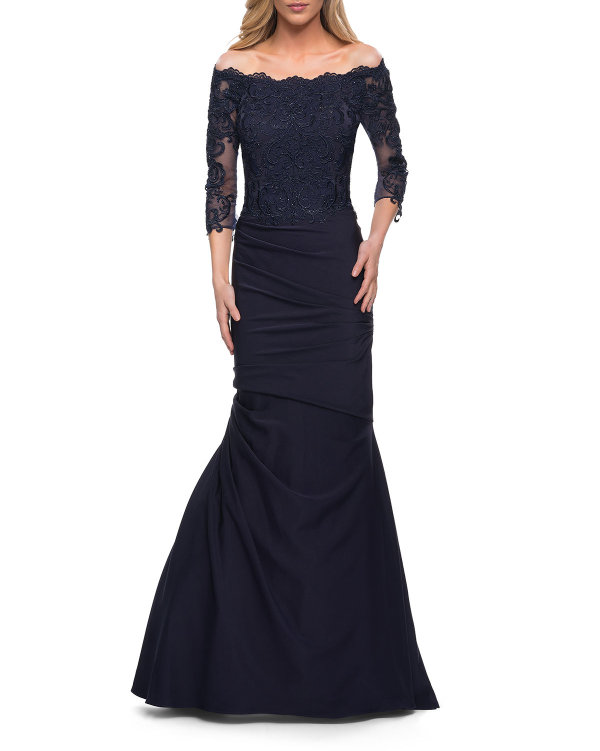 La Femme Gowns GATHERED LACE MERMAID GOWN WITH JERSEY SKIRT
