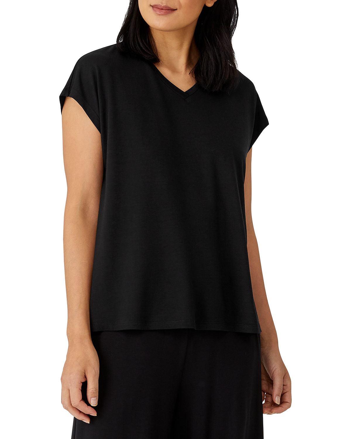 Eileen Fisher Tops FINE JERSEY V-NECK BOXY TOP