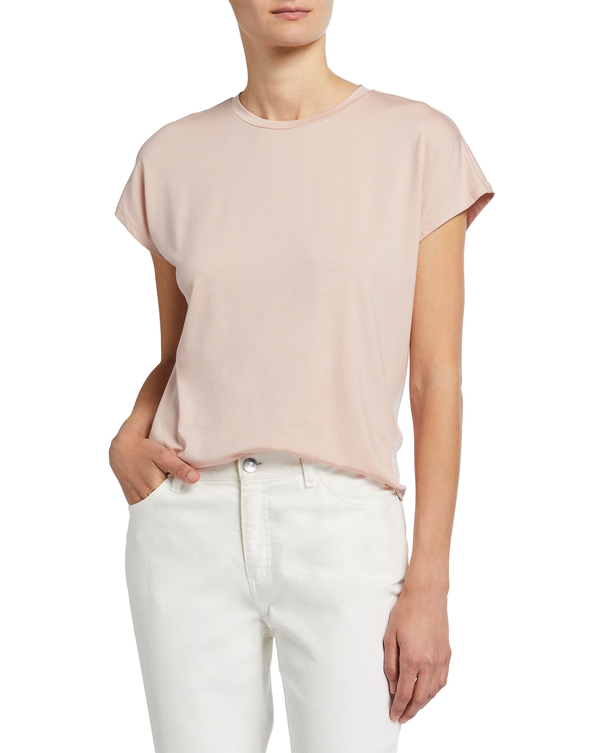 Eileen Fisher Tops FINE JERSEY CREWNECK BOXY TOP