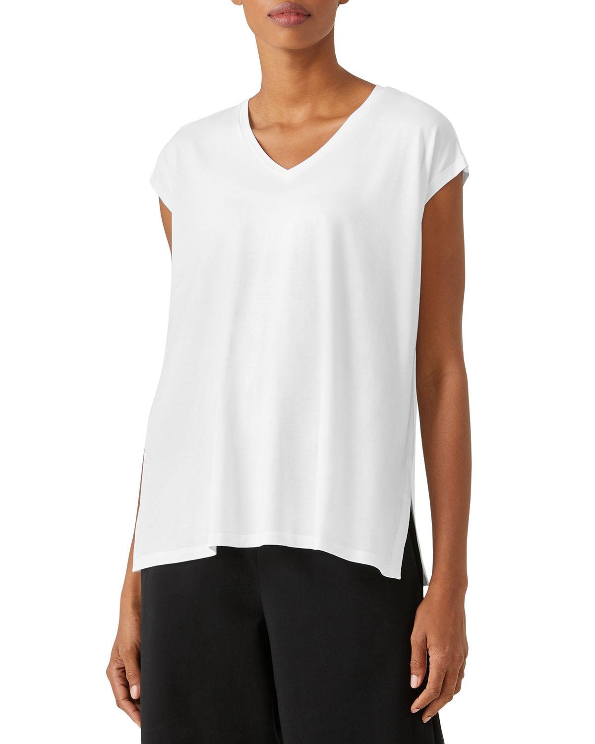 Eileen Fisher Tops FINE JERSEY V-NECK LONG BOXY TOP