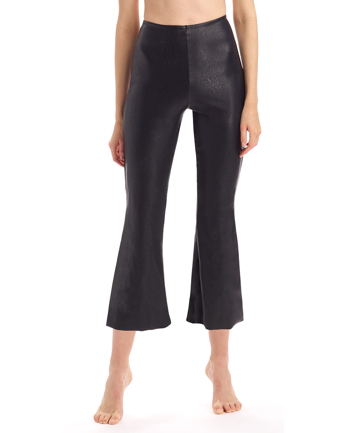 Faux Leather Cropped Flare-Leg Pants