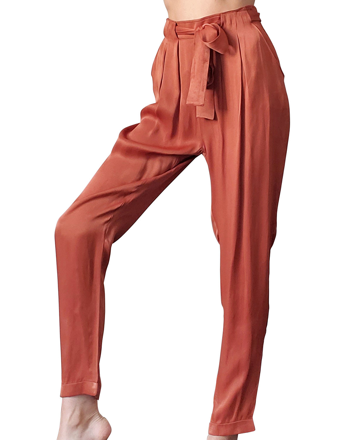 Cathy Belted Satin Pants