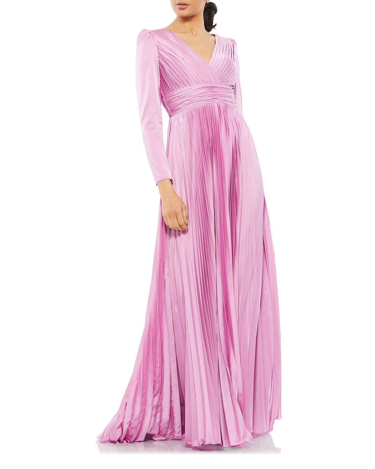 Long-Sleeve Pleated Chiffon A-Line Gown