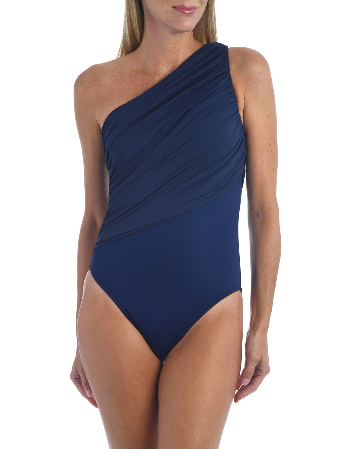 Shirred One-Shoulder One-Piece Swimsuit
