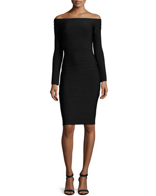 Image 1 of 5: Off-the-Shoulder Long-Sleeve Bandage Dress