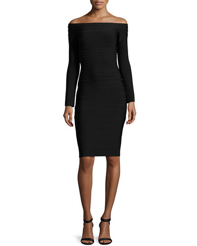 Herve Leger Off-the-Shoulder Long-Sleeve Bandage Dress