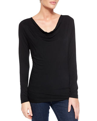 Image 1 of 3: Soft Touch Draped Long-Sleeve Top