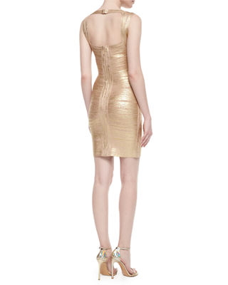 Image 2 of 2: Crisscross Metallic Bandage Dress