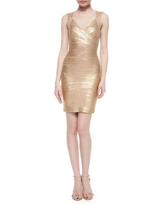 Image 1 of 2: Crisscross Metallic Bandage Dress
