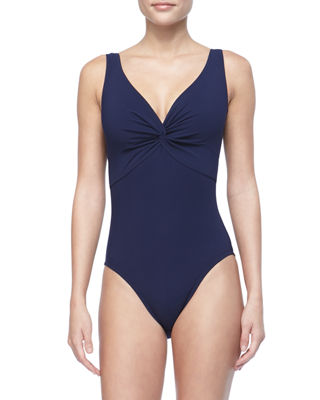 Image 1 of 2: Twist-Front Silent Underwire One-Piece Swimsuit