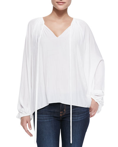 Paris V-Neck Peasant Blouse