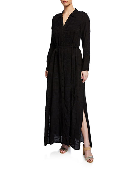 Johnny Was Georgette Button-Front Long Dress