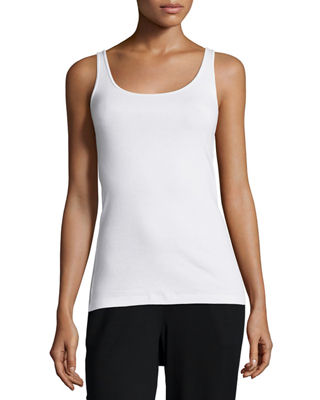 Scoop-Neck Long Slim Tank, Plus Size
