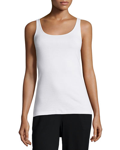 Eileen Fisher 3/4-Sleeve Organic Linen Mesh Box Top,