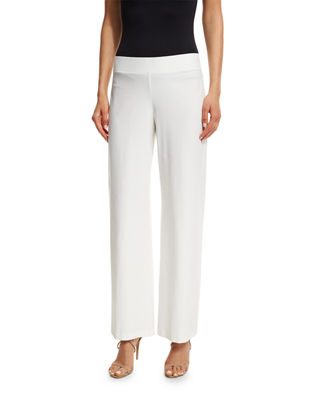 Image 1 of 2: Wide-Leg Stretch-Crepe Pants, Petite