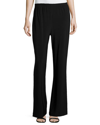 Caroline Rose Stretch-Knit Wide-Leg Pants, Petite