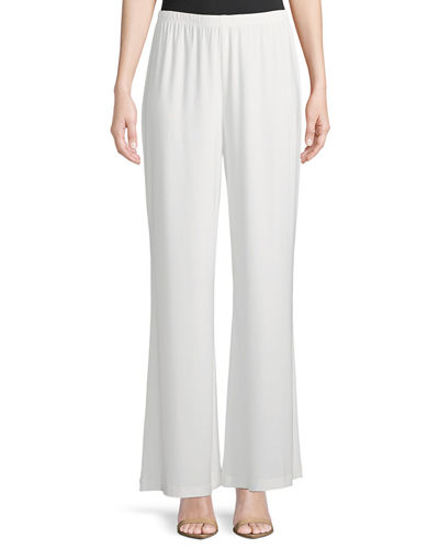 Stretch-Knit Wide-Leg Pants, Petite