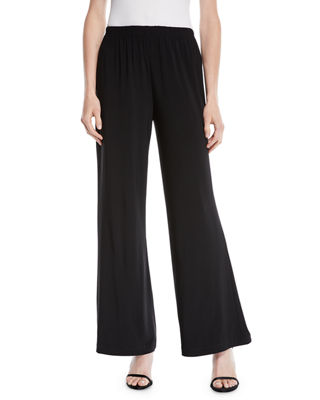 Image 1 of 4: Stretch-Knit Wide-Leg Pants