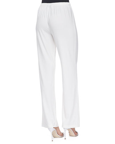Caroline Rose Petite Stretch-Knit Straight-Leg Pants