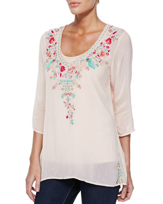 Johnny Was Priscilla Embroidered Tunic & Scoop-Neck Cotton