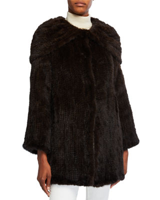 Belle Fare Mink Fur Oversized-Collar Coat