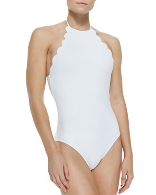 Mott Halter One-Piece Swimsuit W/ Scalloped Edges