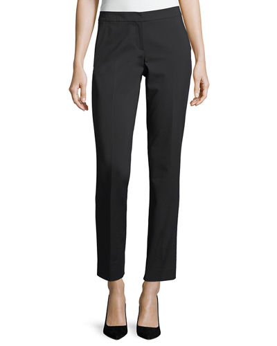 Front-Zip Slim Ankle Pants, Plus Size