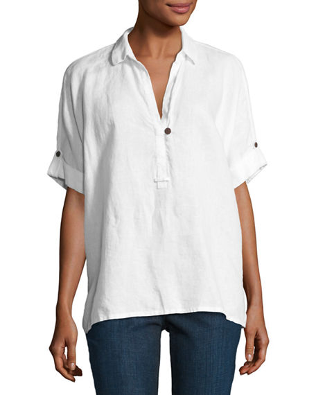 Go Silk Petite Oversized Short-Sleeve Linen Tunic