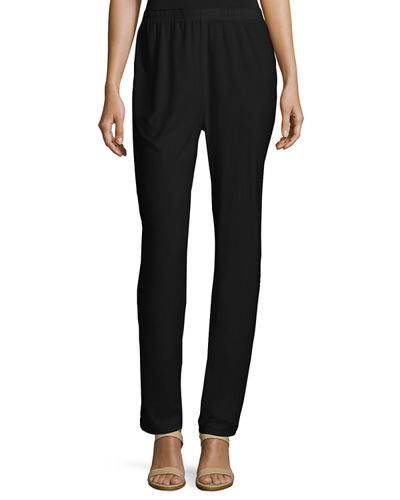 Caroline Rose Stretch-Knit Slim Pants, Petite