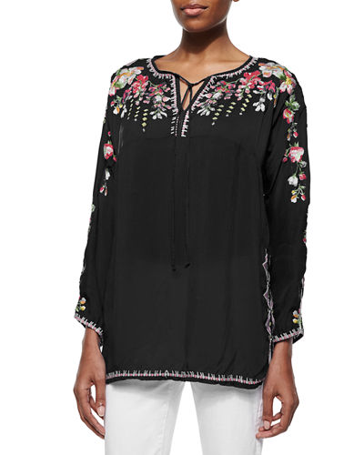Vanessa Georgette Embroidered Tunic, Plus Size