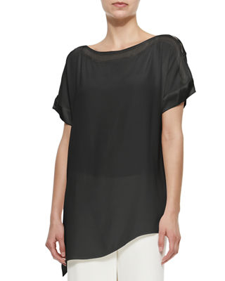 Silk Boat-Neck Easy Tunic