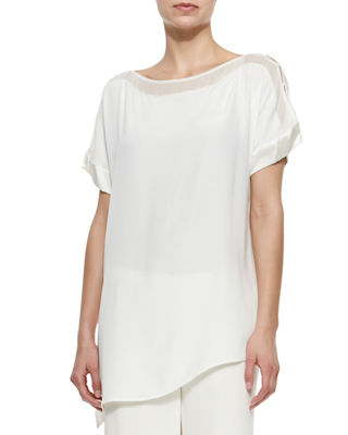 Image 1 of 2: Silk Boat-Neck Easy Tunic
