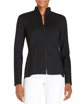 Lafayette 148 New York Kerry Zip-Front Blouse W/