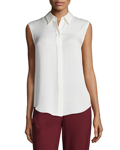 Theory Gabe Single-Button Crepe Blazer, Tanelis Sleeveless Silk