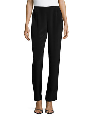 Silk Crepe Straight-Leg Pants, Plus Size