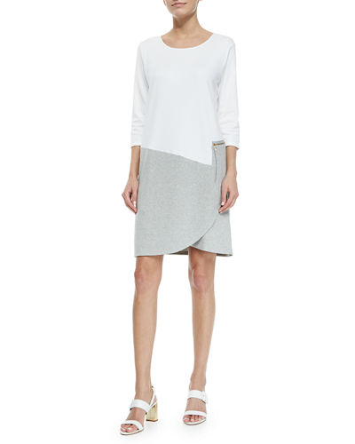 Plus Size 3/4-Sleeve Colorblock Dress, White/Heather Gray