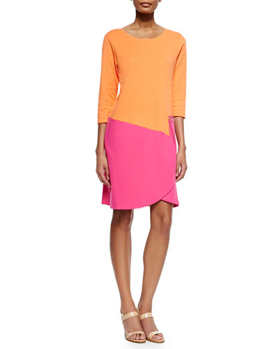 Plus Size 3/4-Sleeve Colorblock Dress, Fuchsia/Coral