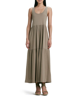 Joan Vass Tiered Long Tank Dress, Plus Size