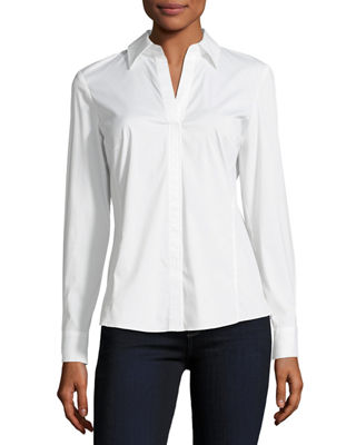 Lafayette 148 New York Stretch Cotton Katie Side-Zip