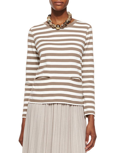 Petite Long-Sleeve Striped Top